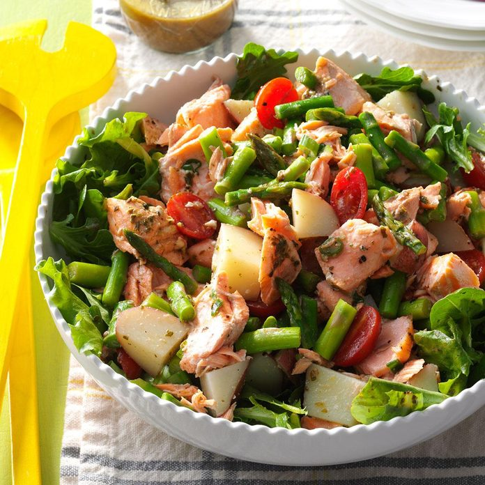 Salmon Vegetable Salad with Pesto Vinaigrette