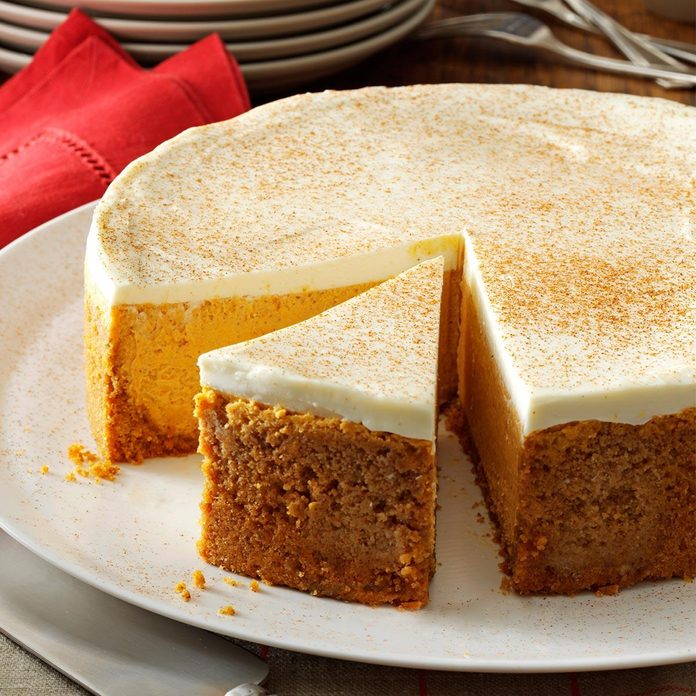Arkansas: Pumpkin Cheesecake with Sour Cream Topping