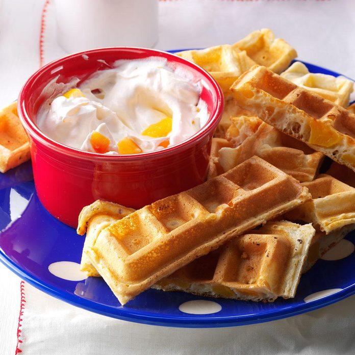 Peaches 'n' Cream Waffle Dippers