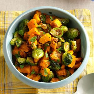 Roasted Pumpkin and Brussels Sprouts