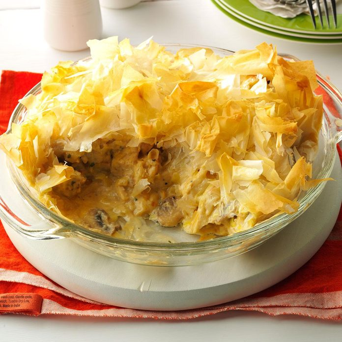 Cheesy Chicken and Leek Phyllo Pie