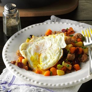 Sausage-Sweet Potato Hash & Eggs