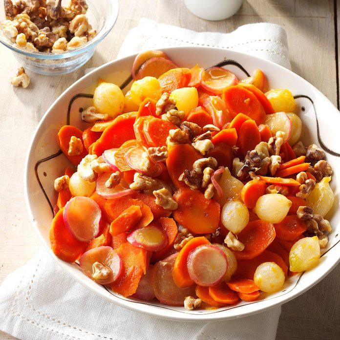 Orange-Glazed Carrots, Onions & Radishes