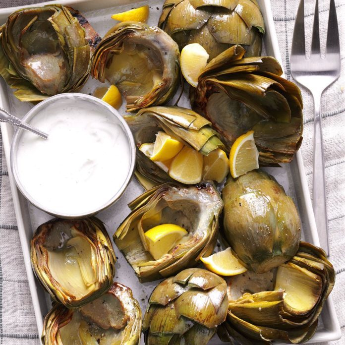 Fresh Artichokes with Lemon-Yogurt Dip