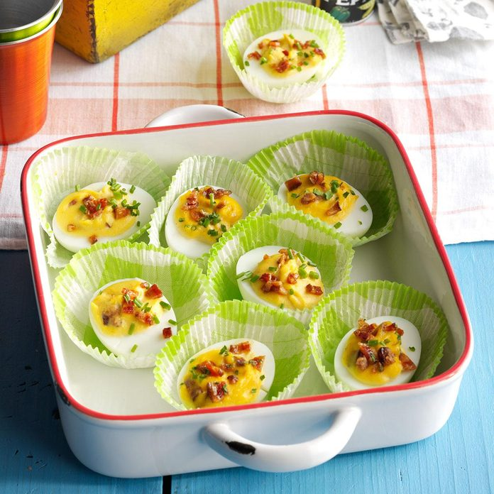 Bourbon Candied Bacon Deviled Eggs