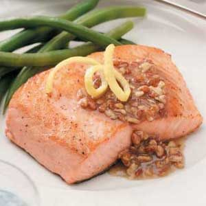 Salmon with Pecan-Honey Sauce