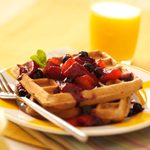 Waffles with Peach-Berry Compote