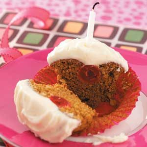Cherry Gingerbread Cupcakes