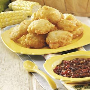 Corn Fritters with Caramelized Onion Jam