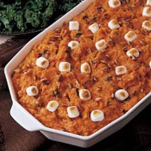 Nutty Sweet Potato Bake with Raisins and Marshmallows