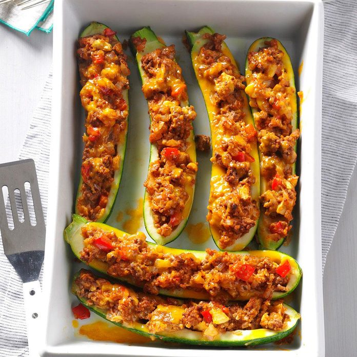 Beef & Bulgur-Stuffed Zucchini Boats