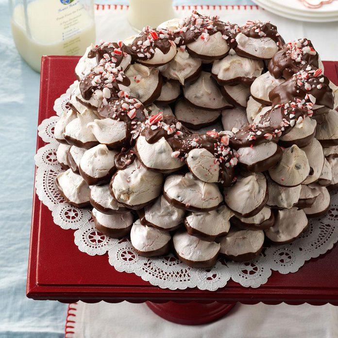 Chocolate-Candy Cane Meringue Wreath