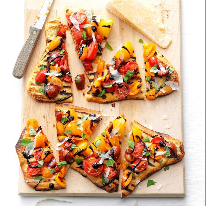 Peggy Woodward, Senior Food Editor: Grilled Tomato Pizzas