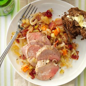 Pork Tenderloin with Cran-Apple Sauerkraut