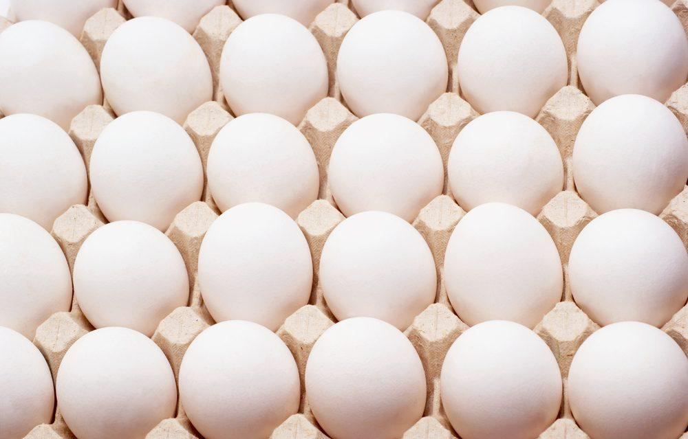 White chicken eggs in a carton