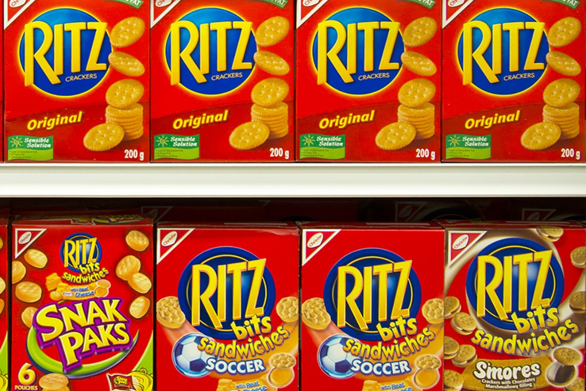 Ritz cracker boxes on display in a grocery store on March 12th, 2014.