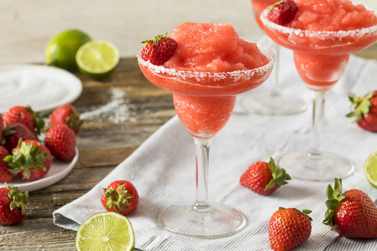 Homemade Red Frozen Strawberry Margarita in a Glass;