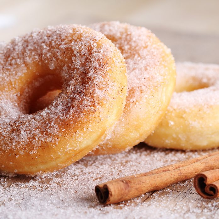 Sweet pieces of sugar doughnuts with cinnamon sugar