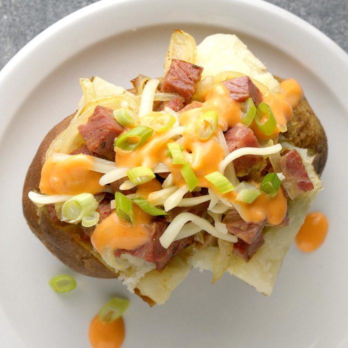 Corned Beef Baked Potatoes