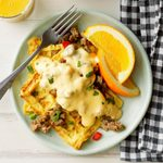 Omelet Waffles with Sausage Cheese Sauce
