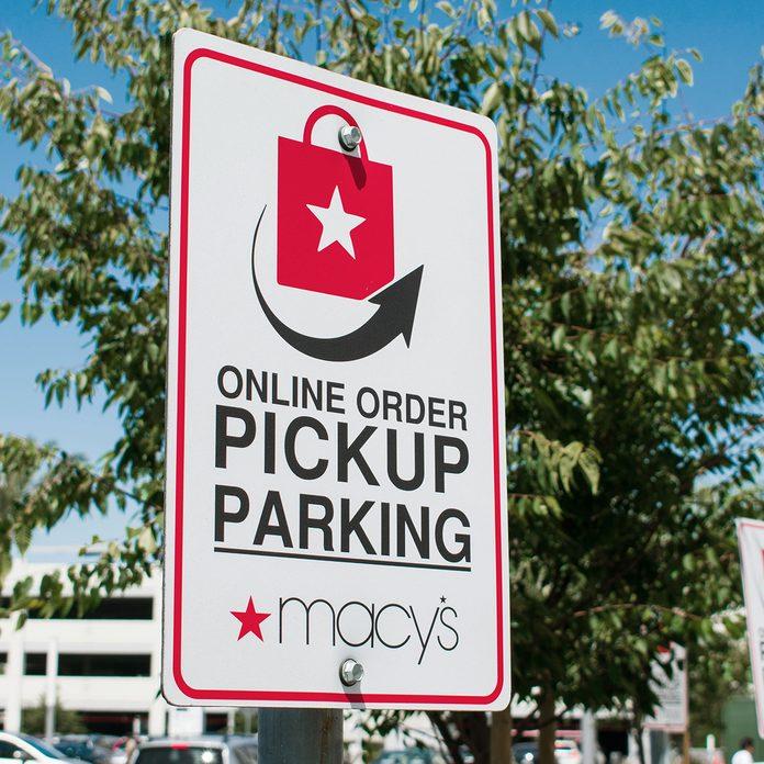 Macy's online pickup sign