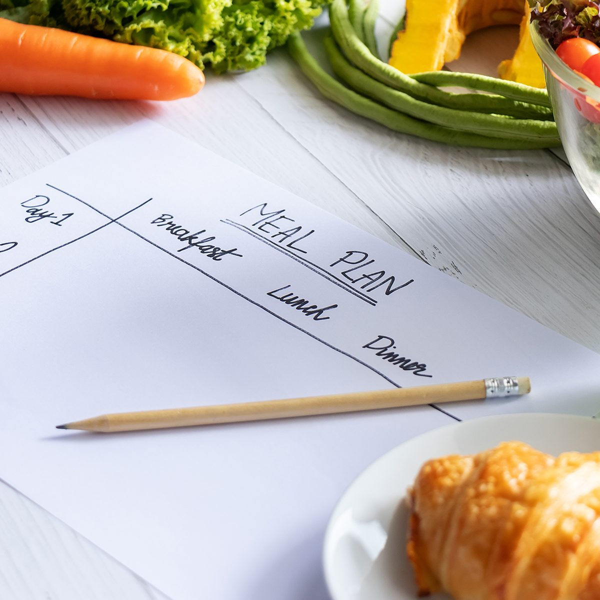 Calories control, meal plan, food diet and weight loss concept. top view of meal plan table on paper with salad, fruit juice, bread and vegetable; Shutterstock ID 1483948601; Job (TFH, TOH, RD, BNB, CWM, CM): TOH