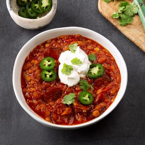 Pressure-Cooker Andouille Lentil Chili