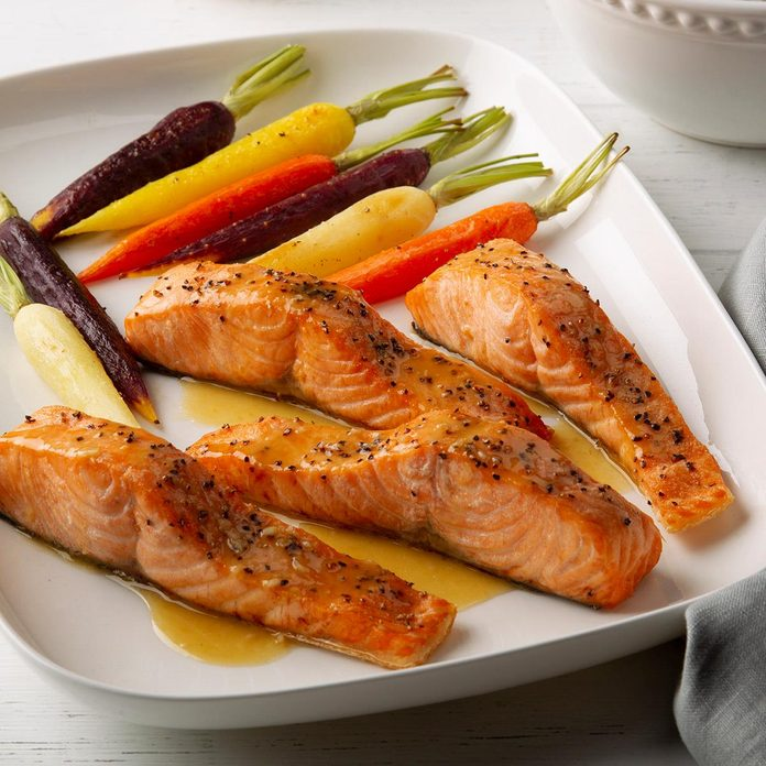 Air-Fryer Salmon with Maple-Dijon Glaze