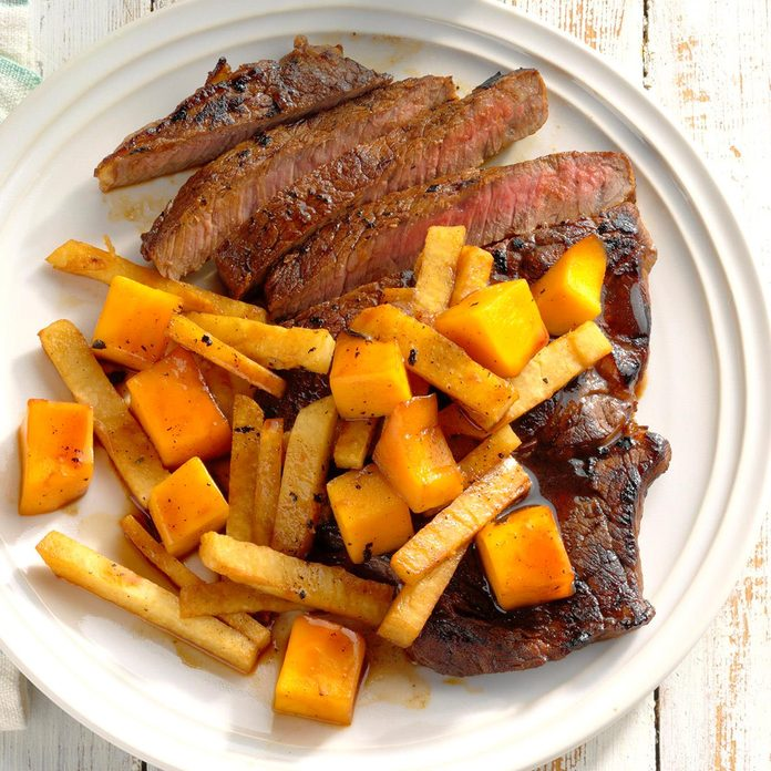 Triple-Citrus Steaks with Jicama and Mango