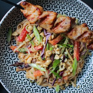 Grilled Turkey Kabobs with Thai Noodle Salad