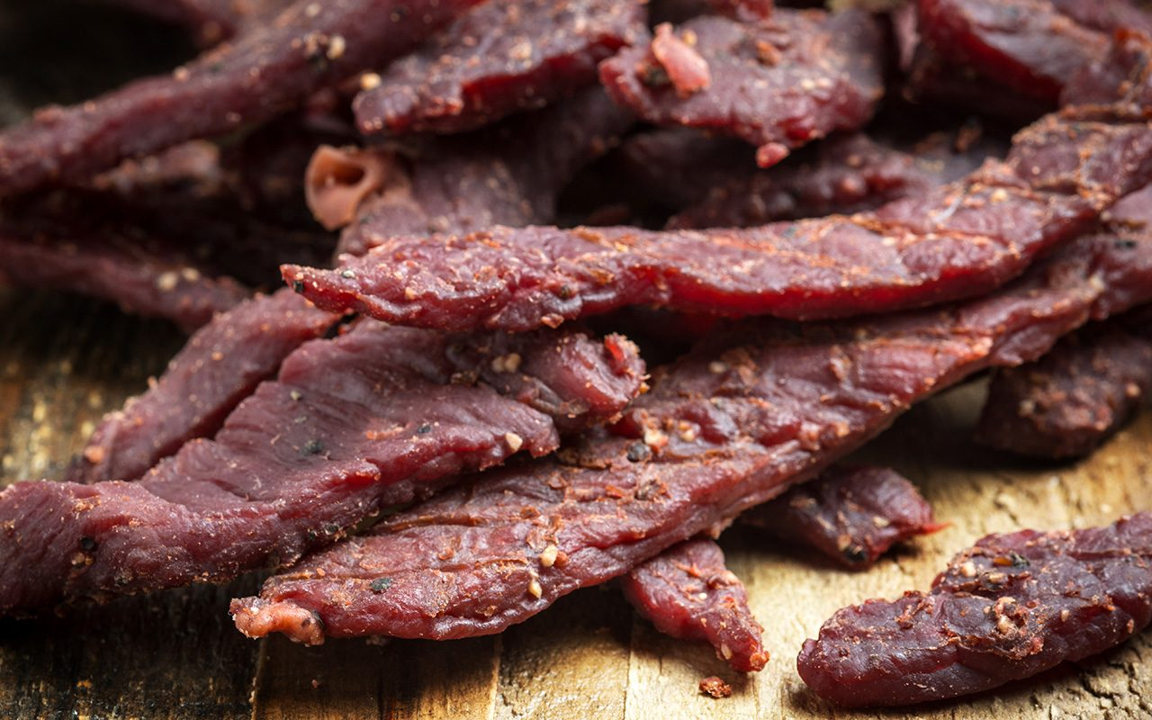 Beef Jerky on a cutting board