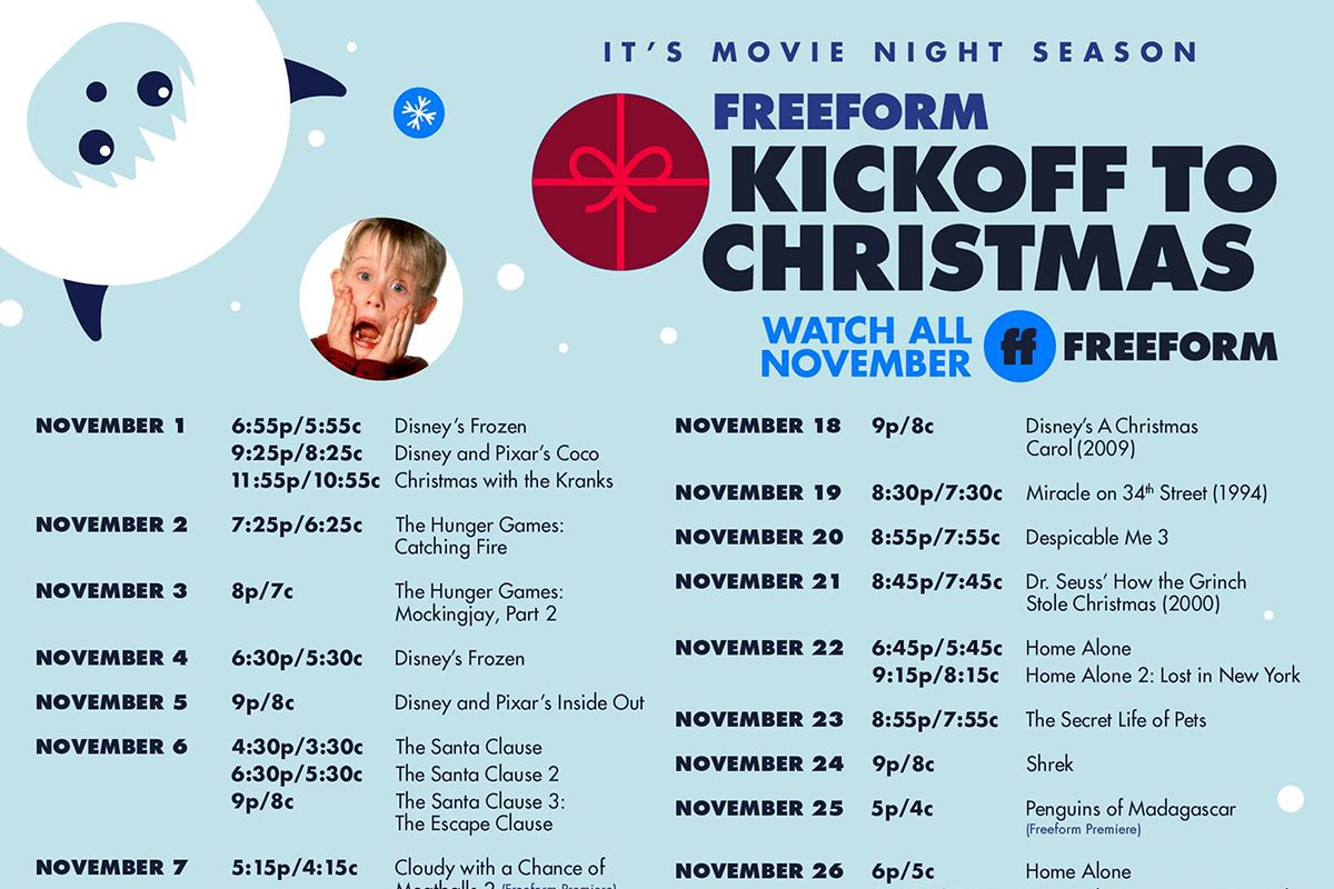 Freeform's Kickoff to Christmas Schedule