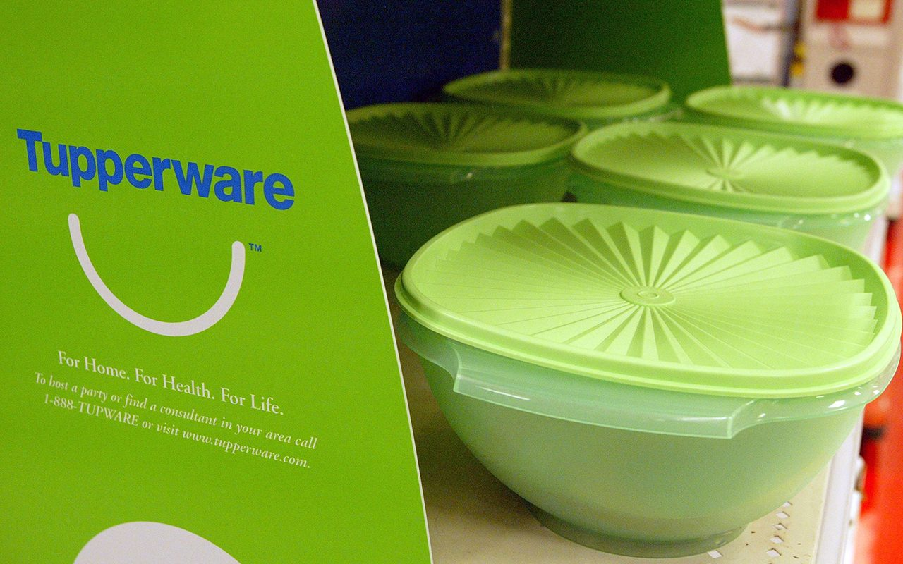 SAN BRUNO, CA - JUNE 19: Tupperware is seen on the shelf at a Target store June 19, 2003 in San Bruno, California. Tupperware Corp. will pull its products from Target stores later this year because the Tupperware party has suffered during the eight months the product line has been available at Target. (Photo by Justin Sullivan/Getty Images)