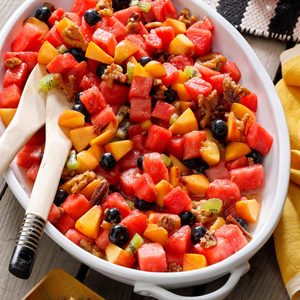 Watermelon Salad with Cinnamon Pretzel Crunch