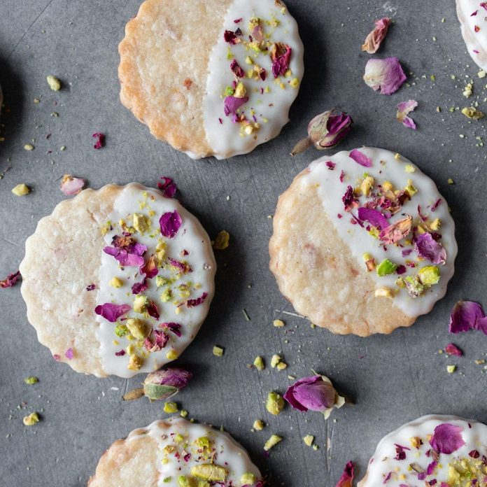 A batch of rose shortbread cookies from Milk and Cardamom