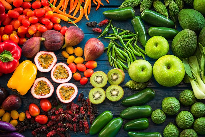 Flat lay of fresh fruits and vegetables for background