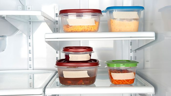 food containers in fridge
