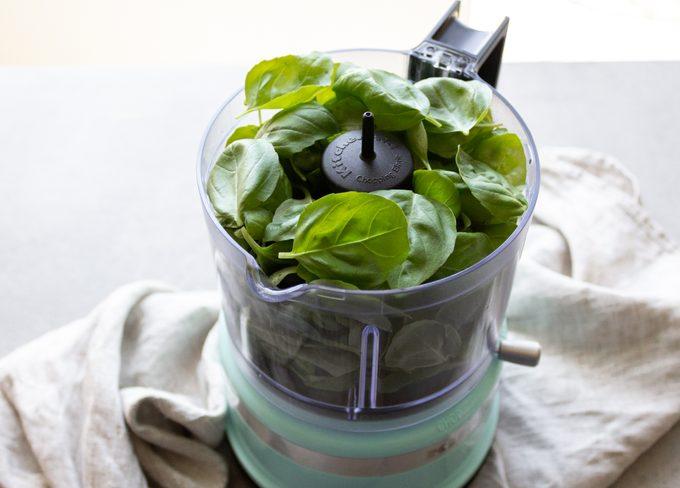 how to make pesto Chop the basil
