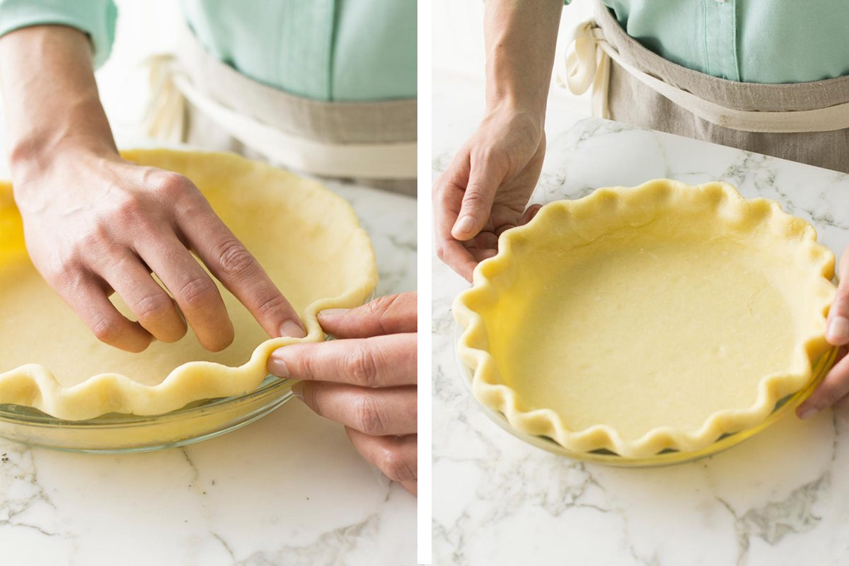 Method for how to decorate pie crust. Image of fluted edge pie crust.