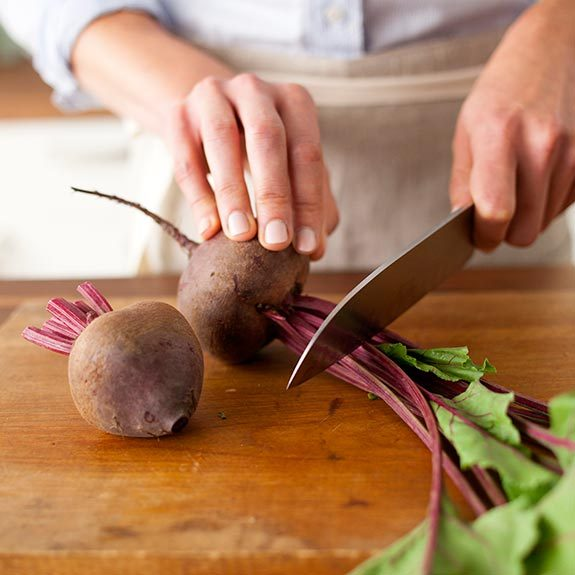 cutting beets