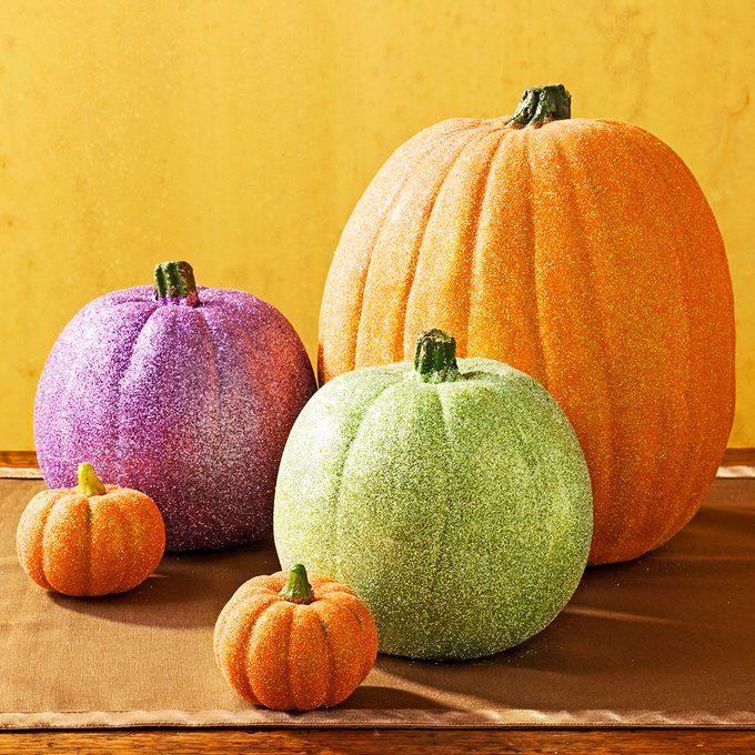 Glittery pumpkins for Halloween.