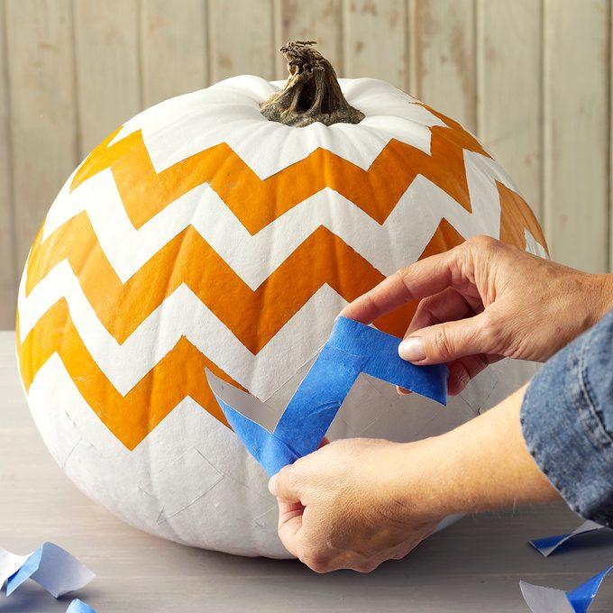 Painted chevron pumpkin