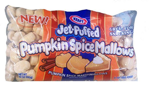Bag of Jet-Puffed pumpkin spice flavored marshmallows