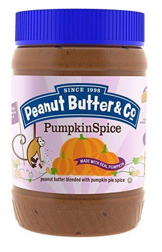 Jar of Peanut Butter & Co. pumpkin spice peanut butter with a lilac label