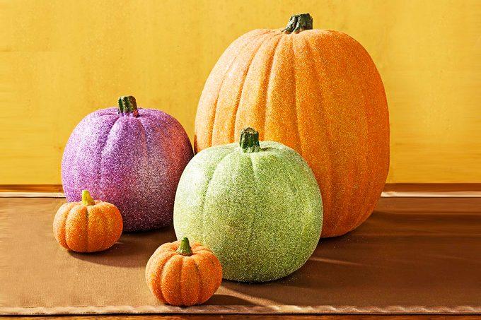 country woman glitter pumpkins