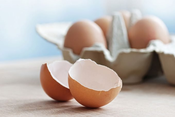 Broken egg on a table