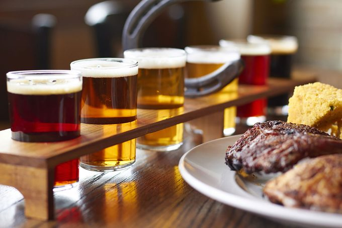Beer flight and smoked meats