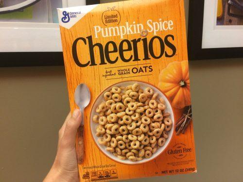 Box of pumpkin spice flavored Cheerios with an orange box