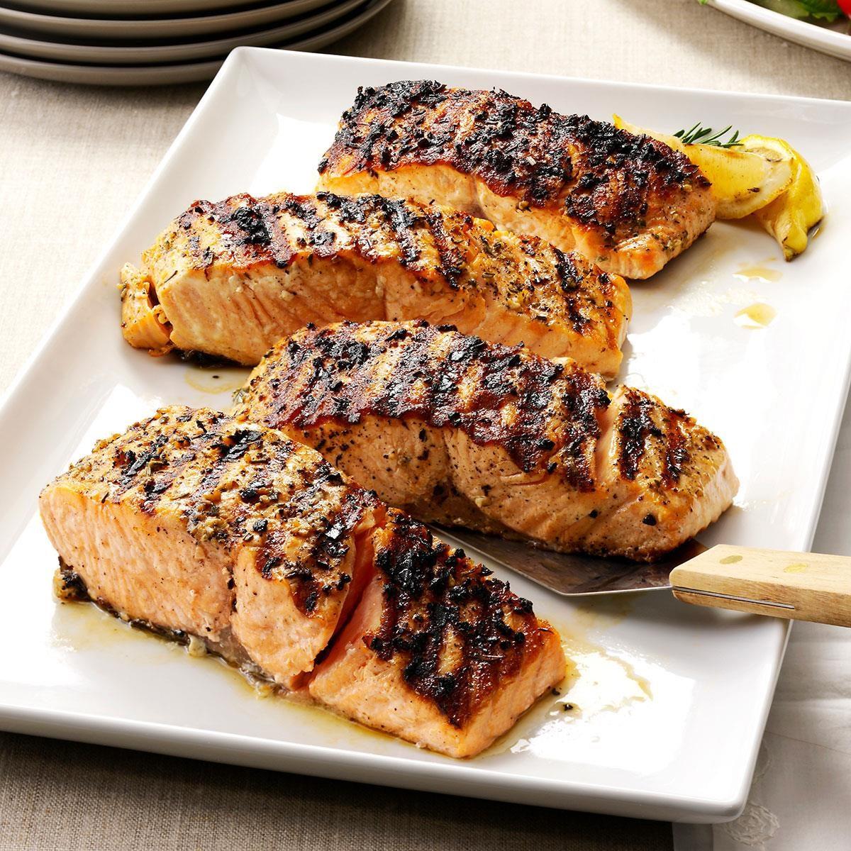 grilled lemon-garlic salmon