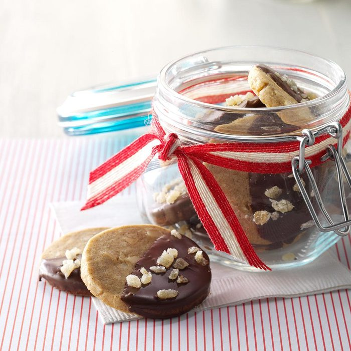 Cookies inside a clear jar with ribbon